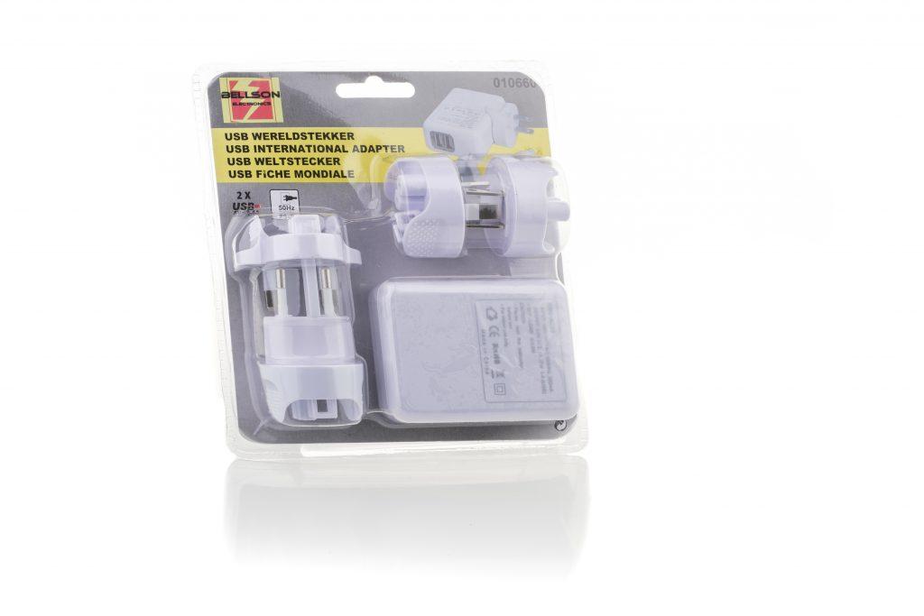 USB Wereldstekker 5dlg