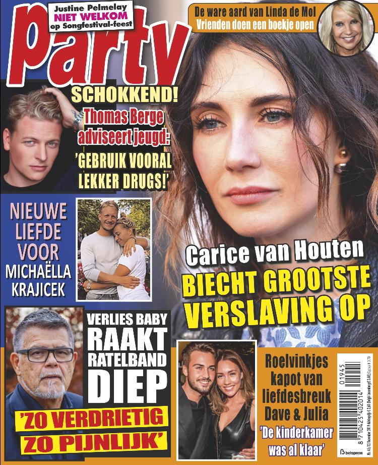 Profeit met een advertentie over de reflectieband in tijdschrift Party! - Tijdschrift Party 45 cover - november 2019